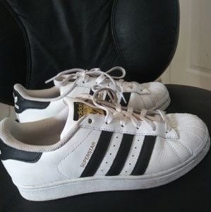 adidas superstar white and black stripe sneakers